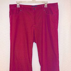 Talbots Heritage 16W Cranberry Red Corduroy Pants